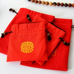 棉麻小布袋手串珠寶首飾袋福袋喜慶袋紅色錦囊束口絨布袋文玩布袋