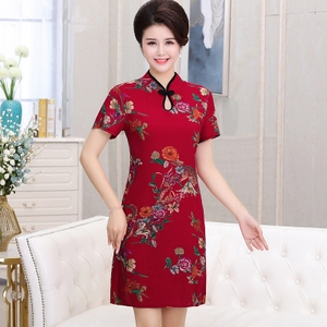 中老年绵绸连衣裙旗袍裙夏短袖妈妈装女中国风中长款母亲节礼物