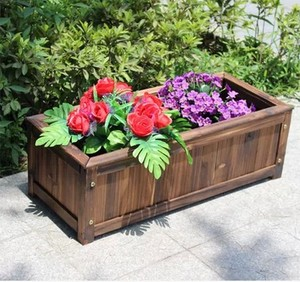 植箱长方形碳化木质花盆花槽