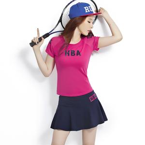 短袖短裙運動套裝女夏天時尚修身網球裙褲裙網球服休閑兩件套女裝