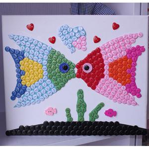 包邮节日礼物儿童diy手工制作材料包亲子益智玩具小鱼纽扣画