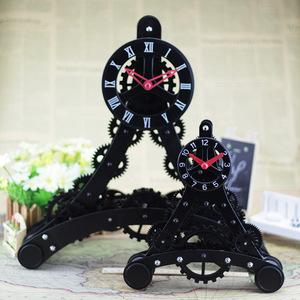 創意齒輪時鍾埃菲爾鐵塔巴黎座鍾金屬鐵藝石英鍾時尚禮品辦公室鍾