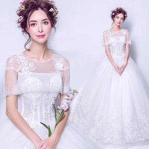 仙气荷叶边 女神范 遮肉显瘦蕾丝花朵公主新娘婚纱礼服9056