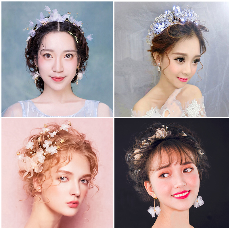 手工新娘头饰结婚发饰蕾丝皇冠盘发婚礼甜美发饰复古发夹新娘饰品