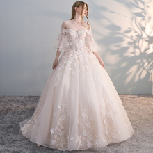 word shoulder wedding dress 2018 new Simple bride trailing light forest dream Princess super fairy was thin