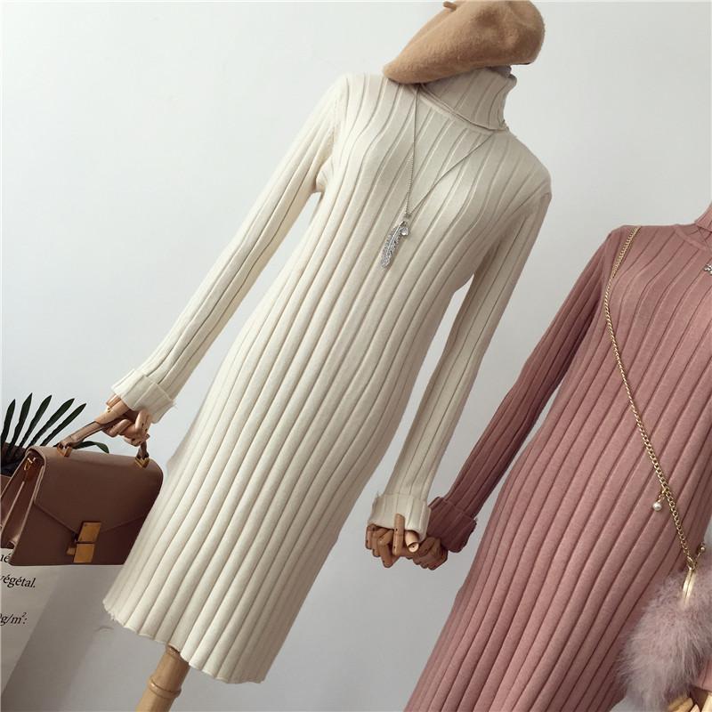 秋冬季新款开叉修身内搭高领chic打底套头过膝针织毛衣连衣裙长款