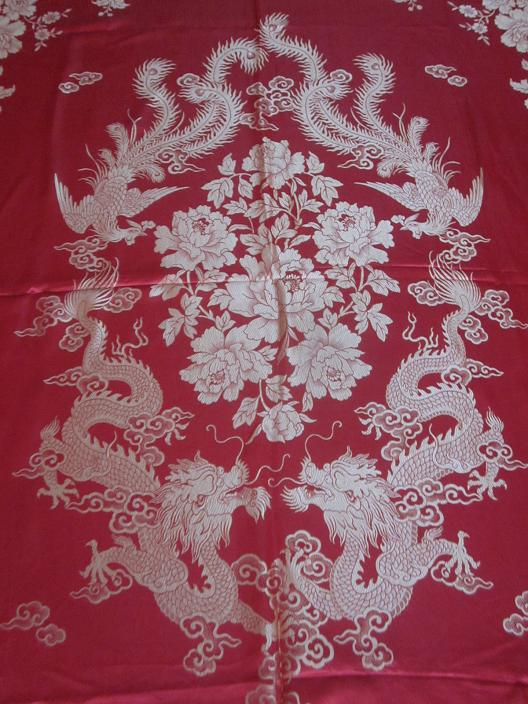 80s red silk satin quilt quilt Ssangyong Shuangfeng flower pattern into a new 9 d