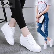 2017 new female white shoe leather shoes in the spring and autumn increased all-match leisure shoes breathable shoes with slope