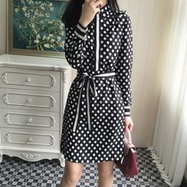 122704 Europe spring 2017 new silk Twill dresses age wave printing shirt dress