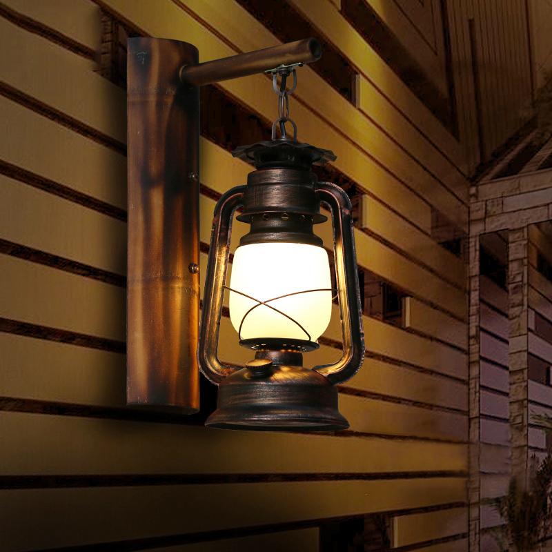 中式古典复古怀旧仿古酒吧挂灯楼梯过道创意灯具煤油灯马灯壁灯
