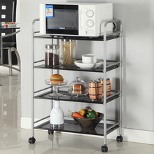 Kitchen storage rack, down belt wheel, movable storage cart, discharging rice cooker, pot appliance, microwave oven, placing rack