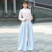 Special offer every day spring folk style women's suit daily improved Chinese wind Hanfu cross collar jacket skirt two piece female