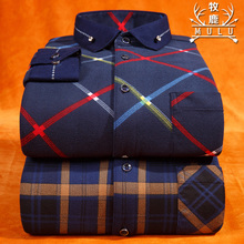 Grazing deer man warm shirt sleeved plaid with cashmere thickened self-cultivation in autumn and winter leisure shirt shirt Mens