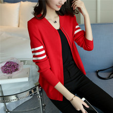 In the spring of 2017 new Korean women knit cardigan Baseball Shirt all-match short thin sweater coat tide