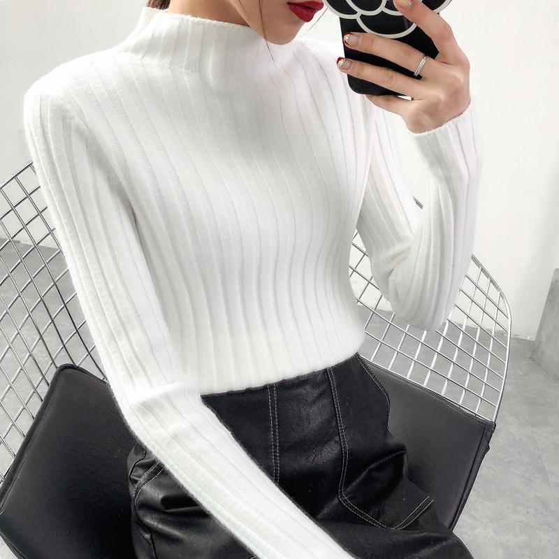 半高领毛衣女韩版打底衫秋冬新款加厚长袖修身百搭套头上衣针织衫