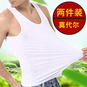 Men's Vest thin elastic modal hurdle Summer Youth Sports slim fit backing sleeveless vest