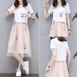 夏季套装裙女2018新款女装韩版时尚T恤网纱裙两件套学生连衣裙 潮