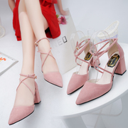 Korean version of the new 2017 pointed pink high-heeled shoes with thick bandage with all-match sandals female students in Rome in summer