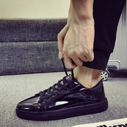 The trend of Korean patent leather shoes polished pure black student shoes casual shoes all-match winter shoes