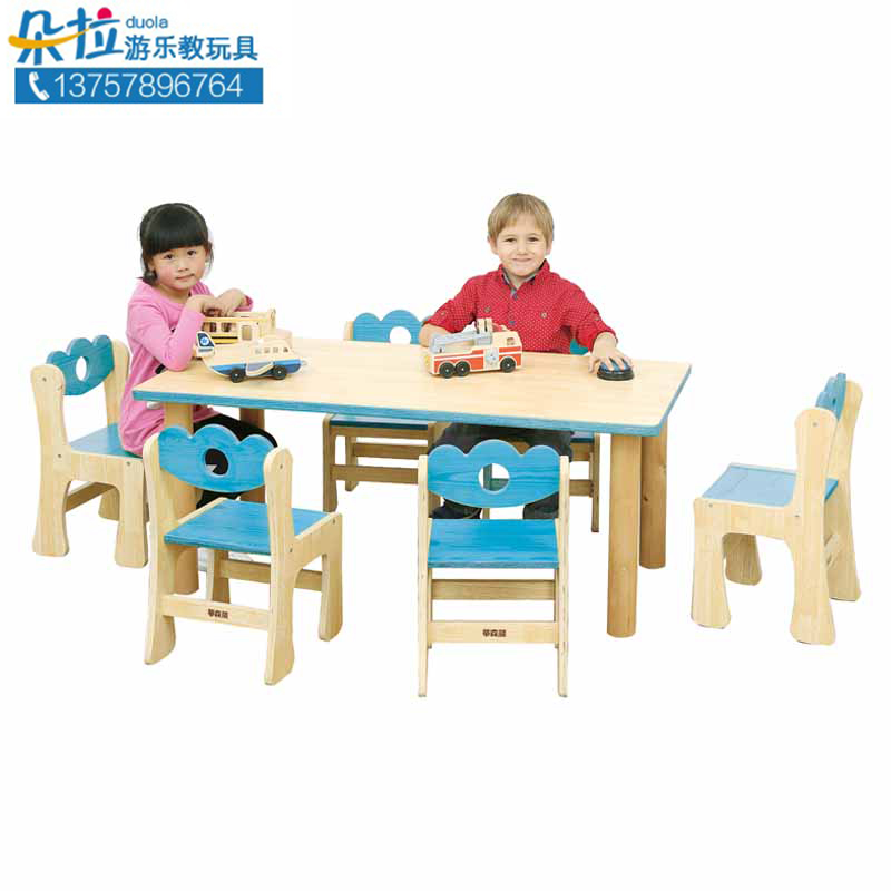 Athens Garden - solid wood 6 people table top kindergarten, children's early learning table, multi colored optional Chinese