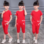 Girls summer suit 2017 new children in Korean girls fashion children sports summer two piece suit