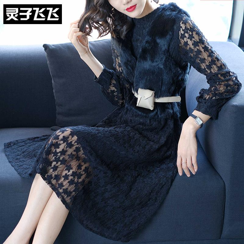 2018春装新款中长款黑色马甲镂空网纱蕾丝两件套装打底内搭连衣裙