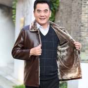 Vuitton Jun Hu new men's middle-aged leather plus velvet jacket in old dad thickened winter jacket
