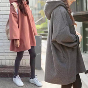 Autumn and winter wind in the long section of BF Harajuku loose sweater female Hooded Jacket with pure cashmere thickening of Korean students tide