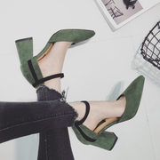 The new spring and summer 2017 Korean temperament thick with high heel shoes suede shoes buckle a hollow women shoes