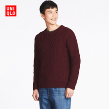 Self provided Mens Niu flower cotton Crewneck sweater (sleeve) 400647 of its UNIQLO
