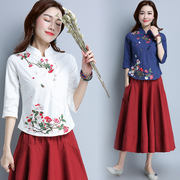 Special offer every day new folk style dress art, embroidery cotton seven slim collar sleeve Tang suit jacket