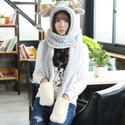 Special offer every day hat scarf glove three piece female winter winter scarf one thick warm birthday gift