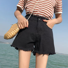 Black denim shorts female summer 2018 new chic Korean loose student wild a word high waist hot pants tide ins