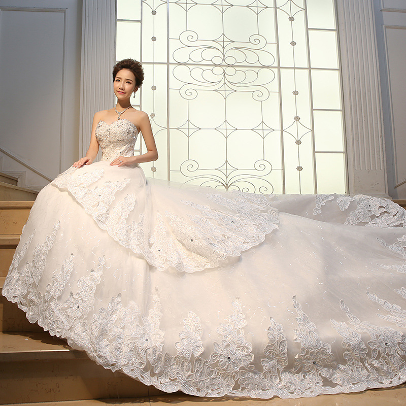Long Trailer bridal gown bride new 2016 Stomacher Korean-style Qi-hin large size wedding women