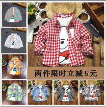 Gu Jing BU boys Plaid Shirt specials baby cotton shirt child large loose thin coat at the end of the tide