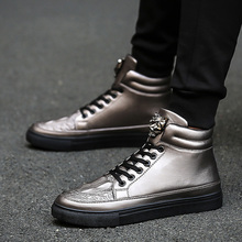 Men's winter gun color high shoes GZ shoes high tube non mainstream patent leather shoes high waisted sequins punk Kobron shoes