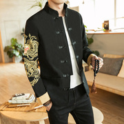 The spring and autumn wind Chinese male costume embroidery jacket retro ZhongShanZhuang suit coat collar handicap Chinese Hanfu tide