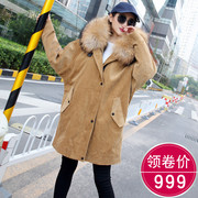The checkered line 2017 new fox raccoon fur collar wool coat liner corduroy female fur coat sent to overcome