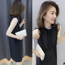 2018 summer European station new women's European goods tide Korean version of the black mesh was thin sleeveless Lace dress spring