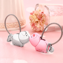 Couple keychain a pair of kissing pig pig key chain men and women car pendant ring Korea cute creative ornaments