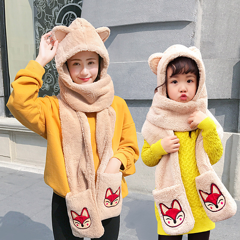 韩版可爱帽子围巾手套三件套女冬季成人儿童卡通一体帽子亲子套装