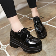 Korean students all-match thick soled shoes new autumn and winter 2017 muffin Harajuku plus velvet soft sister small leather shoes
