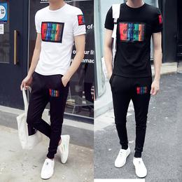 春秋男士短袖T恤韩版时尚休闲套装修身半袖运动一套衣服潮流夏季