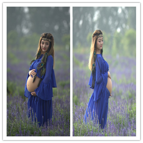 New studio pregnant women to take pictures about photography photo garment pot-bellied mommy xinmi blue veil location filming