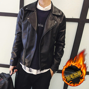 Boys leather jacket lapel zipper slim Korean Short Jacket PU male locomotive handsome young winter clothing