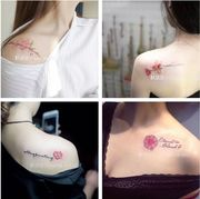 Tattoo, waterproof, lasting Korean, fresh and cute, flowers, leaves, collarbone, ankle, student tattoo stickers