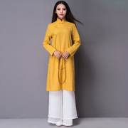Zen tea in autumn and winter clothing and costume cotton, cashmere coat Chinese cheongsam Retro Womens Chinese wind modified Hanfu
