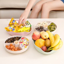 Shipping household dried fruit dish plate living room of wheat straw cover divided melon candy and nuts box