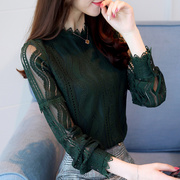 2017 early autumn with the new code Lace Blouse Dress hollow semi turtleneck long sleeved shirt and slim girl