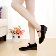 Old Beijing cloth shoes, women's shoes, heel, black cloth shoes, hotel shoes, work shoes, dance etiquette, word with mother shoes